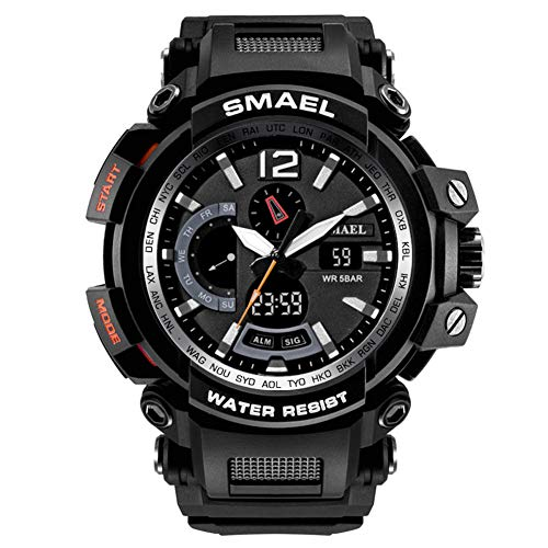 Men's Watches Military Sports Electronic Waterproof LED Stopwatch Digital Analog Dual Time Outdoor Army Wristwatch Tactical ()