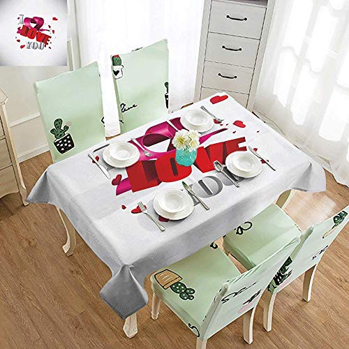 DILITECK Polyester Tablecloth I Love You 3D Design Celebrating Words with Valentines Hearts and Ribbon Present Bow Easy to Clean W52 xL70 Magenta Red Dust