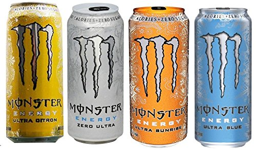 Amazon Com Monster Ultra Energy Drink Bundle Twelve 16 Oz Cans Three Each Of Zero Ultra Sunrise Citron Blue Grocery Gourmet Food