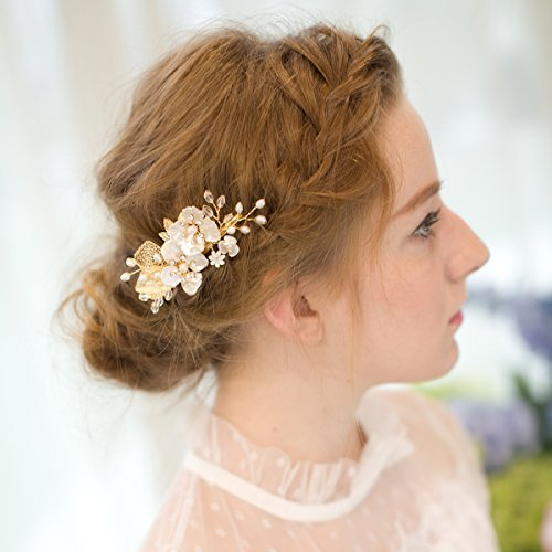 Bridesmaid Bride Bridal Party Big Day Couture Gift One Peacock /& Olive Hair Clip  Comb Golden Tan Earthy Green Pearl  Rhinestone Gem