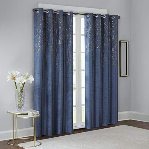 Blue Curtains for Living Room, Contemporary Modern Curtains for Bedroom, Tara Embroidered Fabric Grommet Window Curtains, 52x95, 1-Panel Pack