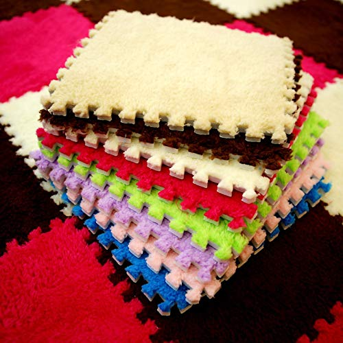 Plush Eva - 10Pcs 3030cm EVA Plush Puzzle Mats Foam Shaggy Velvet Carpet Decorative Kids Room for Crawling Play 8-Colors