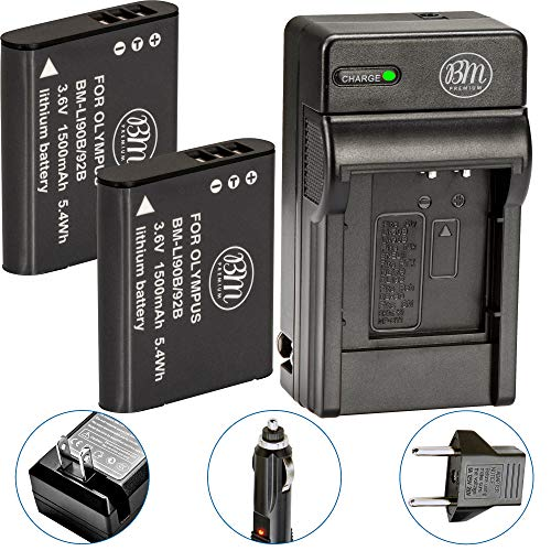 BM Premium 2 LI-90B, LI-92B Batteries and Charger for Olympus Tough TG-5, TG-Tracker, SH-1, SH-2, SP-100 IHS, Tough TG-1 iHS, Tough TG-2 iHS, Tough TG-3, Tough TG-4, SH50 iHS, SH60, XZ-2 iHS Camera