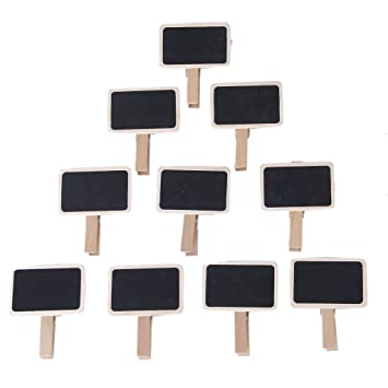 Amazon.com: 10pcs Mini Black Board Wooden Note Photo Clip ...