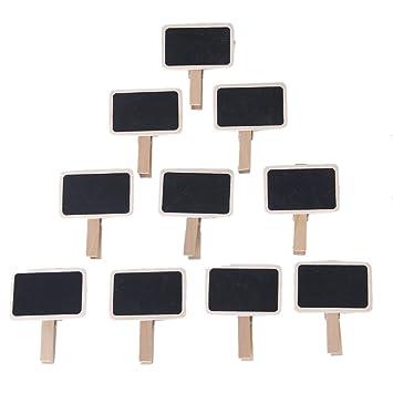 Amazon.com: 10pcs Mini Black Board Wooden Note Photo Clip ...