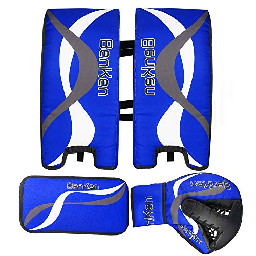 (BenKen Sports Hockey Gear Goalie Pad Pack Ice Hockey Equipment Teenager & Kids Blue Black (Blue 23''))