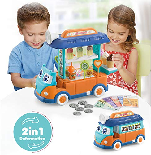 Toy Food Truck for Toddler Pretend Toy Bus Set Ice Cream Truck Cart with Light and Sound-Blue Orange