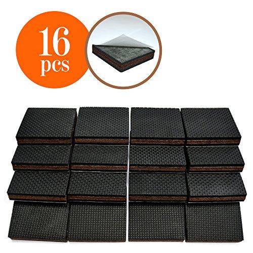 Non Slip 16 Square Furniture Pads Premium Rubber Felt Furniture