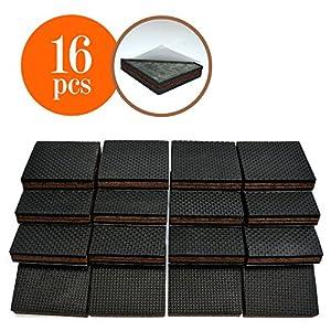 NON SLIP 16 SQUARE Furniture Pads! Premium Rubber U0026 Felt Furniture Feet 2u201d Best  Hardwood Floor Protectors And Fix All Furniture. High Effective Rubber Feet  ...