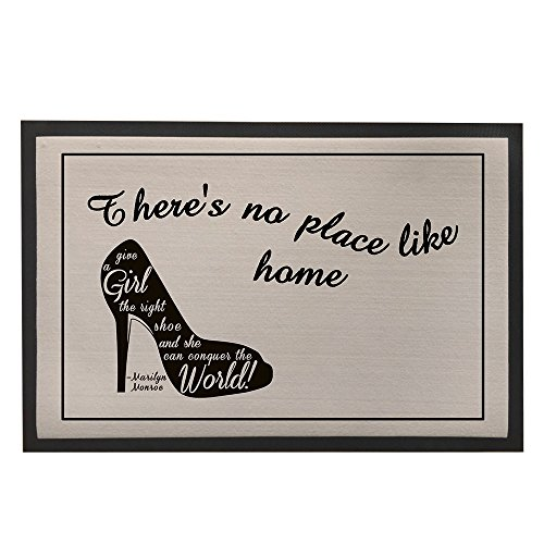 Price comparison product image Non-Slip Rubber Backed Doormat Black and Grey Floor Mat Rugs for Entrance Way with High-heel Shoes Painting