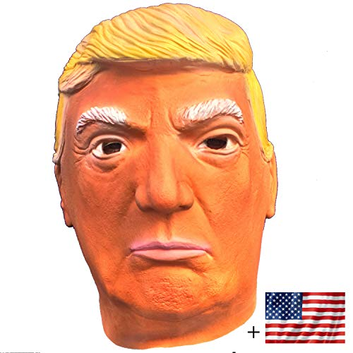 Donald Trump LATEX Mask, The Most Realistic & Best Look-alike, Plus Free USA Flag Bumper Sticker. Full-head Adult Size Orange (Suntanned) ()