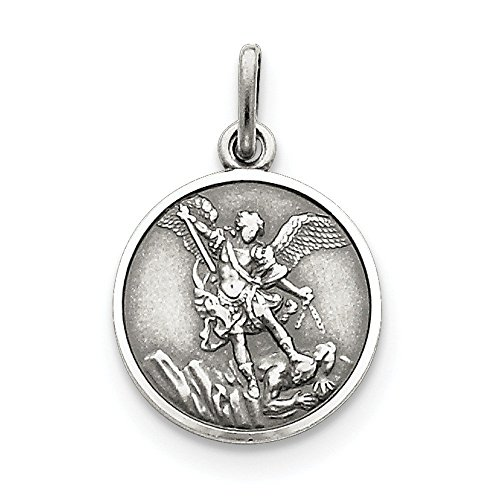 Sterling Silver St. Michael Medal Charm - 15MM (5/8 Inch) - JewelryWeb ()