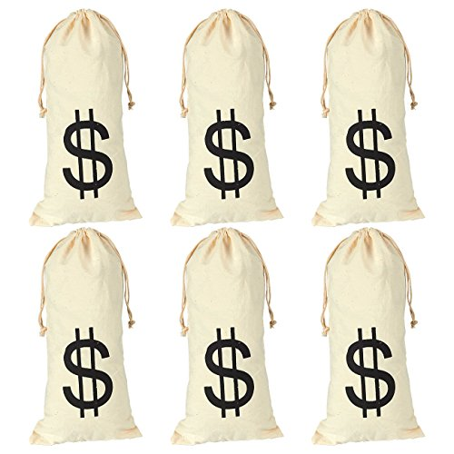 6-Pack Large Fake Money Drawstring Bag Pouch with Dollar Sign Design, Humorous Party Favor Carry Bag, Cream, Robber - 6.1 x 12.9 inches
