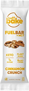 product image for Buff Bake Fuel Bar + MCT   Keto Friendly   Plant Based   Gluten Free   12g of Protein   1g Sugar   4g Net Carbs   Non Dairy   Vegan (12 Count, 50g) (Cinnamon Crunch, 12 Count)