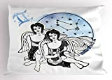 Ambesonne Zodiac Gemini Pillow Sham, Watercolor Backdrop and Constellation with The Twins and Harp, Decorative Standard Size Printed Pillowcase, 26 X 20 inches, Pale Blue Black and White