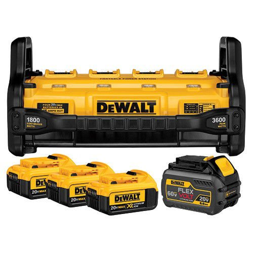DEWALT DCB1800M3T1 Portable Power Station with (3) 4.0 Ah & (1) 6.0 Ah Batteries
