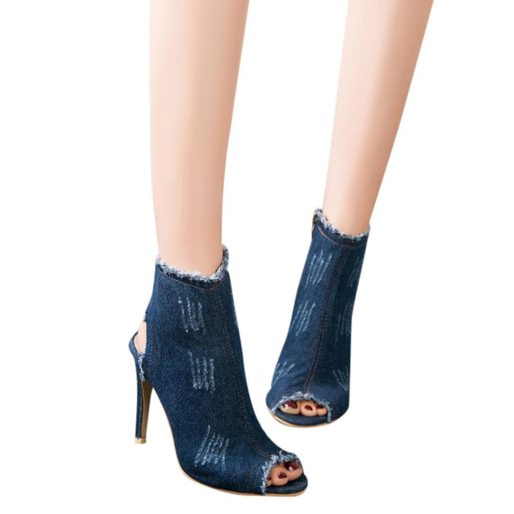 vermers Clearance Sale Women Boots - Ladies Super High Heel Ankle Hollow Peep Toe Denim Zipper Shoes(US:7, Dark Blue)