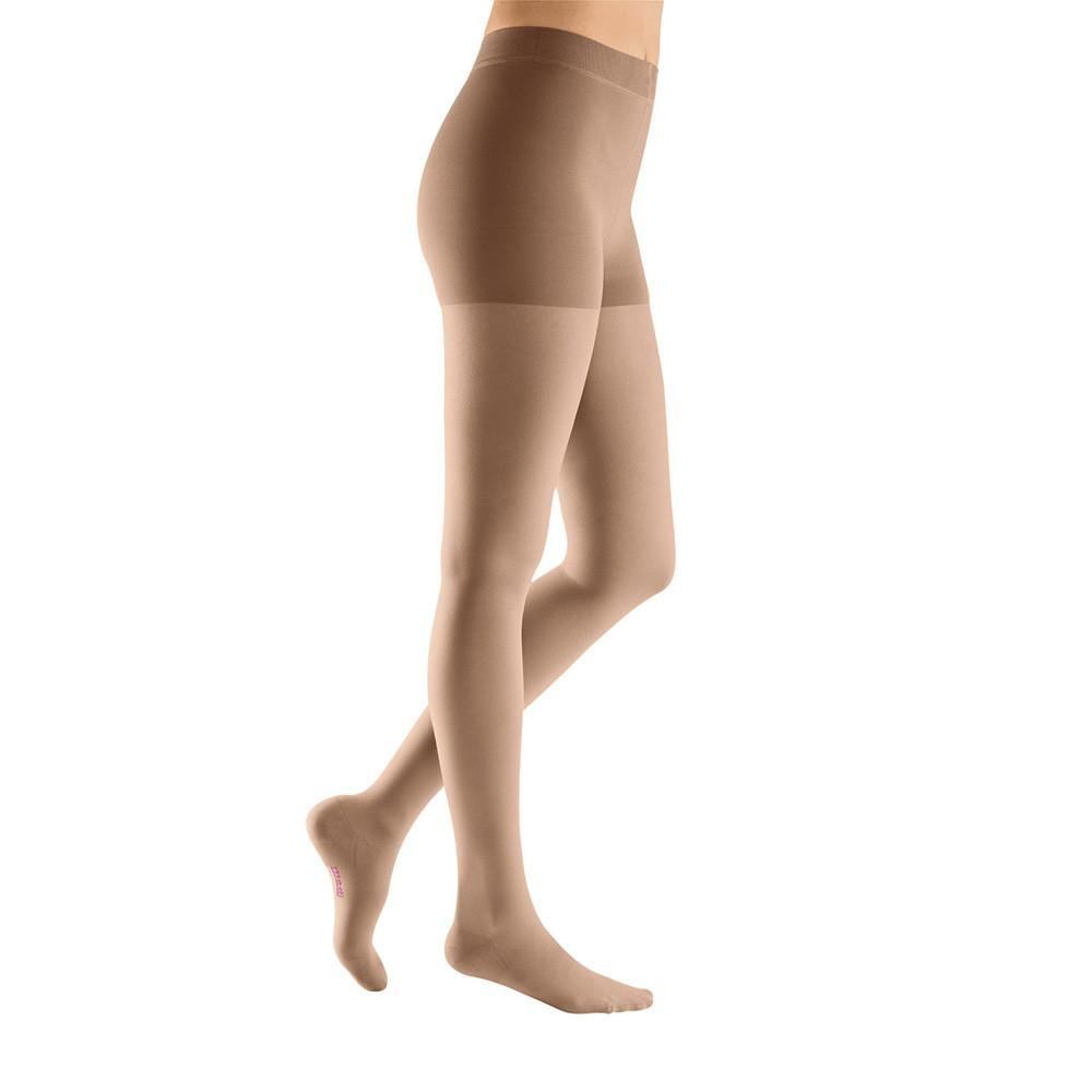 Medi Plus 30-40 mmHg Closed Toe Compression Pantyhose in Petite Beige Petite III Closed Toe