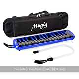 Mugig Melodica 32 keys, C-key, Piano/Keyboard inspired instrument, Portable, Phosphor Bronze Reed, Suitable for Practice, Teaching or Stage Performance. (Black & Blue)