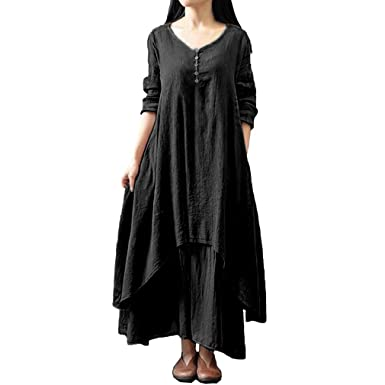 b44790eddf fuxin Women Cotton Linen Dress Long Sleeve V-Neck Loose Dress Button  Decorate Irregular Maxi