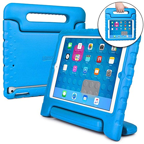COOPER DYNAMO Shock Proof Kids case compatible with iPad Air 1 | Heavy Duty Kidproof Cover for Kids | Girls Boys School | Kid Friendly Handle & Stand, Screen Protector | Apple A1474 A1475 A1476 (Blue)