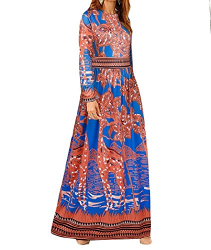 Women Africa Summer Maxi Boho Printing Pattern Vogue Evening Long Dress Orange L by SportsX