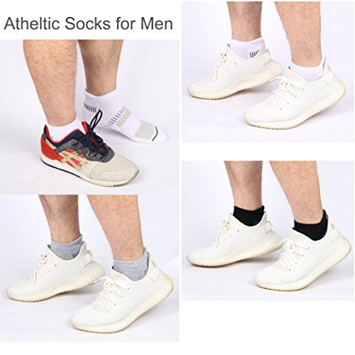 Cooplus Mens Ankle Socks Athletic Cushioned Breathable Low Cut Tab With Arch Support6Pairs