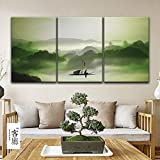 wall26 3 Panel Canvas Wall Art - Chinese Ink Painting Style Alone Boat on Calm River Among Mountains in Mist - Giclee Print Gallery Wrap Modern Home Decor Ready to Hang - 16''x24'' x 3 Panels