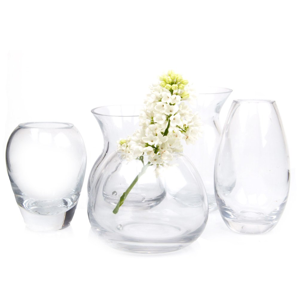 Decorative Floral Vase for Home Decor Office Place Settings George Shape 3 Small and Elegant Oval Bud Vase Bulk Set of 6 Chive Unique Clear Glass Flower Vase