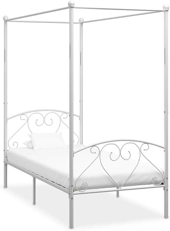 UnfadeMemory Estructura de Cama de Metal con Somier y Dosel,Elegante y Clásico (100x200cm, Blanco)