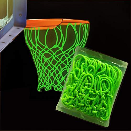 Easy Anywhere Nightlight Basketball Net - Glow in The Dark Basketball Net-Portable Luminous Outdoor Sun Powered Nylon Glowing Basketball Hoop Net