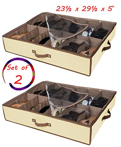 Shoes Under Shoe Organizer Set of 2 (Brown) - 3
