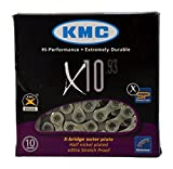 KMC X10.93 10 speed 116 links Bicycle Chain, Silver/Grey (1/2x11/128-Inch)