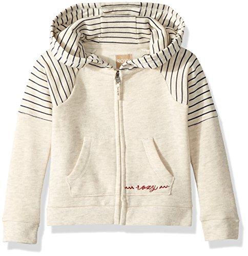 Roxy Girls' Little Sky and Sand Zip-Up Fleece Sweatshirt, Metro Heather Simple Stripe, 5