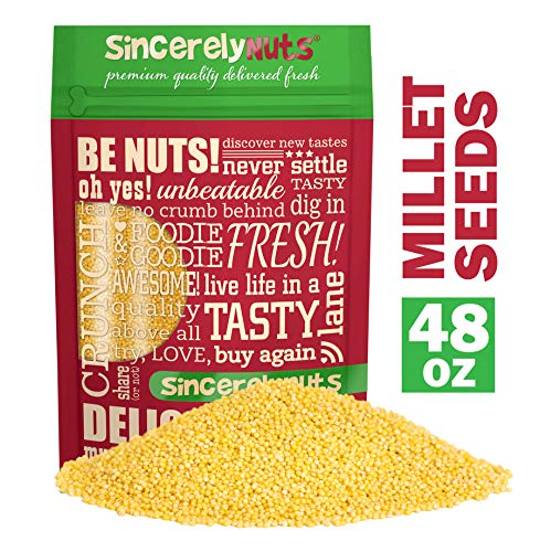 Sincerely Nuts Raw Hulled Millet Seeds (3lbs bag) | Gluten Free Grain for Flour, Cooking, Beer Making and Bird Seed | Easy to Digest Superfood | Kosher & Vegan Friendly Protein