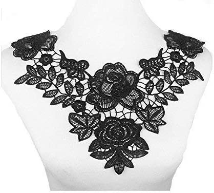 Lace Embroidered Floral Neckline Collar Patches Clothes Sewing Applique DIY FO
