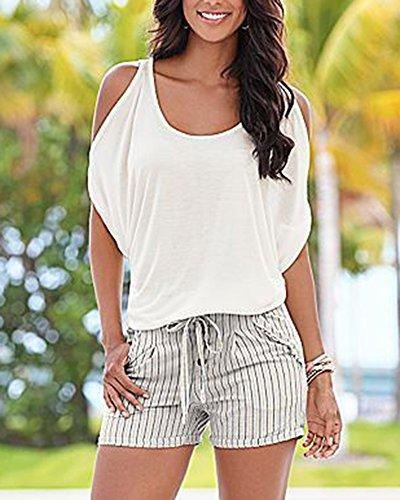 Senza Bianco Blusa T Manica Camicetta Donna Spalline Corta Shirt Shirt YqCRxPR