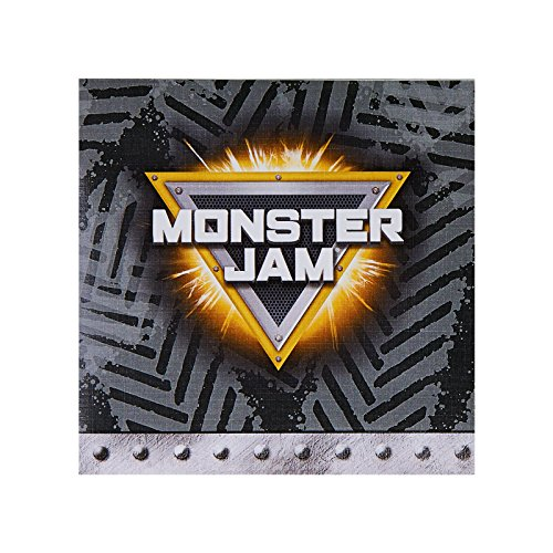 Monster Jam Party Supplies - 9oz Beverage Napkins (20) White (Monster Jam Grave Digger Birthday)