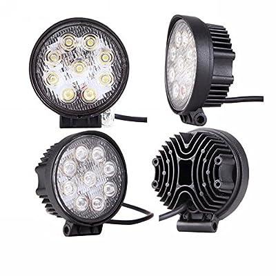MTO® 4 x 27W LED Work Light Lamp Bar Round Flood Beam Offroad For Truck Car Boat SUV 4WD UTE ATV 4X4 12V 24V