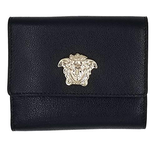 Versace Black Leather Medusa French Wallet