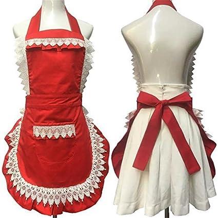 Diseño de encaje de estilo japonés algodón babero delantales de cocina cocinar vestido princesa delantal con