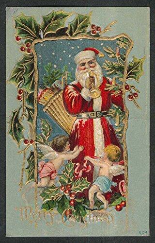 (Merry Christmas Santa Claus blowing horn cherubs postcard 1910s)