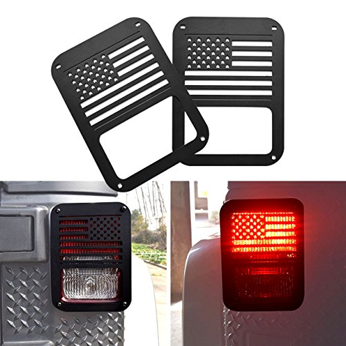 DIYTuning Tail Light Guards for 07-17 Jeep Wrangler JK USA Flag