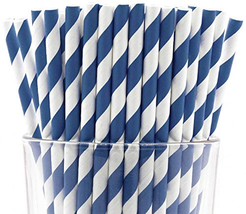 Pack of 150 Biodegradable Navy Blue Swirls Paper Drinking Straws (Compostable, Non-toxic, BPA-free) ()