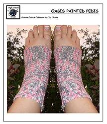 Oasis Painted Pedi's - Crochet Pattern #137 for Pedicure Socks, Flip Flops