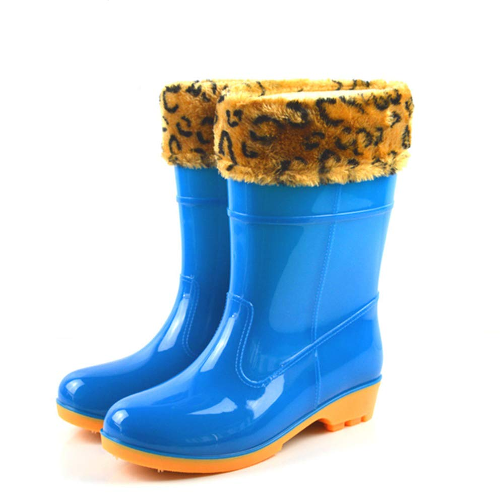 Rain Boots Snow Boots for Womens Fashion Waterproof Warm Rain Shoes