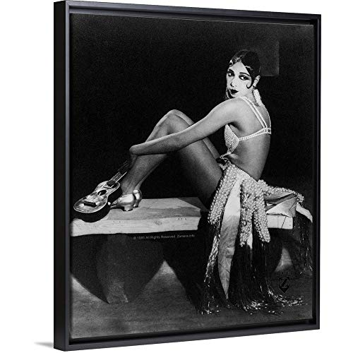Floating Frame Premium Canvas with Black Frame Wall Art Print Entitled Josephine Baker B ()