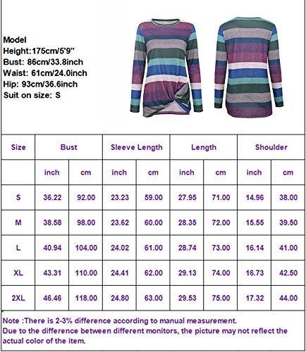 Eanklosco Women\'s Striped Tops Crew Neck T Shirts Knot Front Jumper Casual Tunic Tops Short/Long Sleeve
