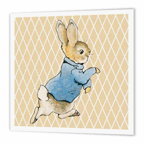 Vintage Iron On Transfers - 3dRose Peter Rabbit Vintage Art- Animals - Iron on Heat Transfer, 10 by 10-Inch, for White Material (ht_79399_3)