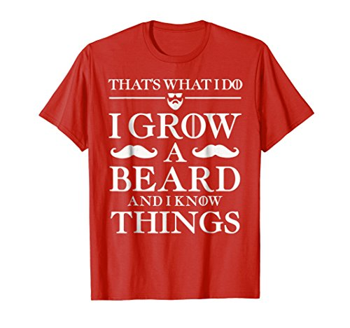 Mens Father's Day Funny T Shirt Gift Dad BEARD AND I KNOW THINGS